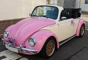 懷舊款甲蟲車(開篷 粉紅色) 3小時 $3380 OT $800/小時